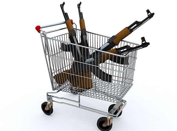 firearms in a shopping trolley