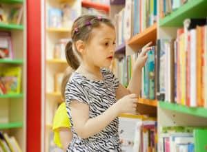 girl in library